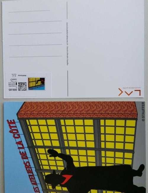 Carte postale affranchie, style BD souvenir du LAC