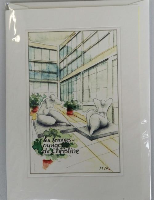 Carte double d'une aquarelle représentant un artiste du LAC
