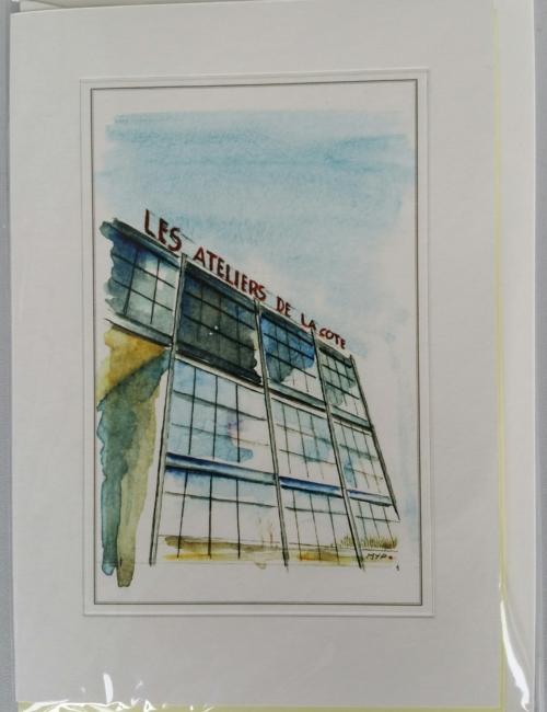 Carte livret d'une aquarelle représentant un artiste du LAC