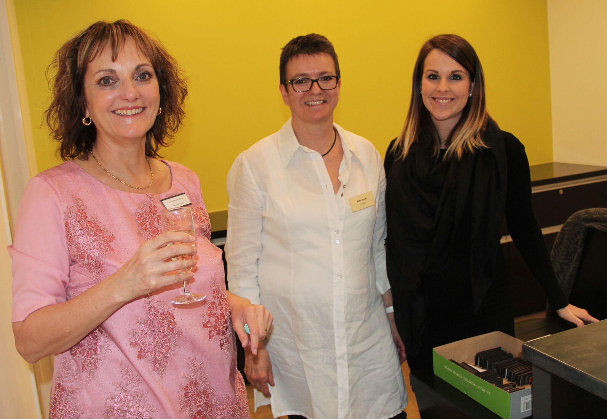Anne-Catherine, Mireille et Orlane lors de l'inauguration du LAC