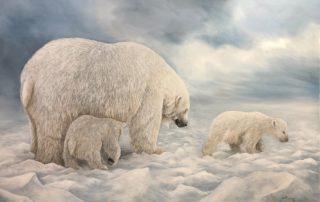 Les ours polaires de Mireille DESROCHES. Les Ateliers de la Côte à Etoy, centre culturel et artisanal. Parking gratuit, à 8 minutes en voiture des axes autoroutiers et 5 minutes à pieds de la gare.