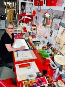 Maryvonne Partouche, artiste peintre aux Ateliers de la Côte à Etoy. Parking gratuit, à 5 minutes à pied de la gare ou 8 minutes en voiture des axes autoroutiers