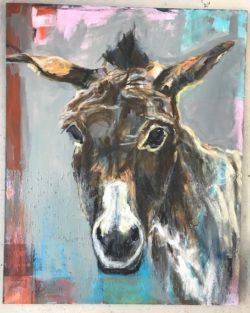 âne en peinture à l'huile créé par Nancy Etienne aux Ateliers de la Côte