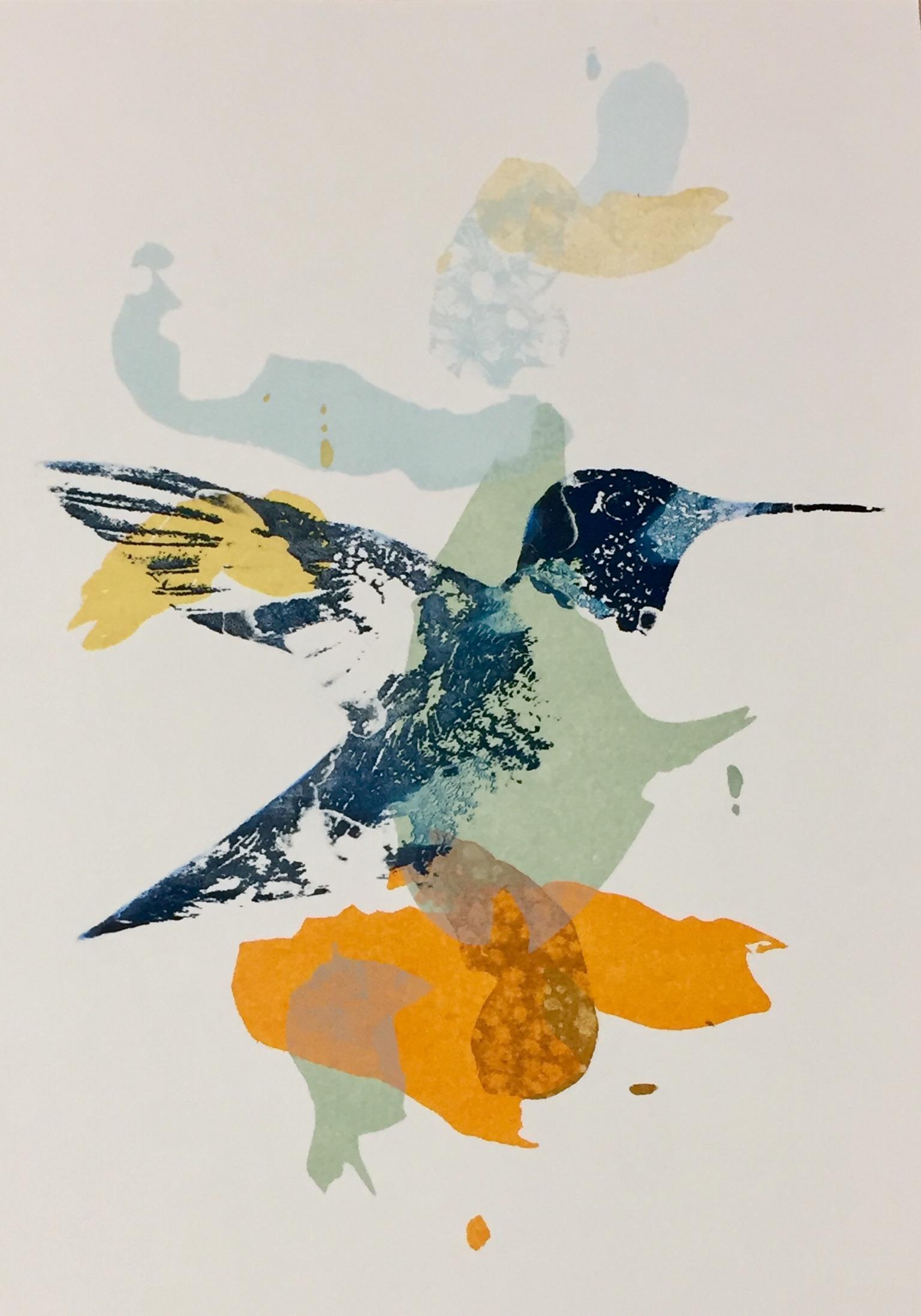 Colibri en sérigraphie créé par Rebecca Klobucher des Ateliers de la Côte à Etoy