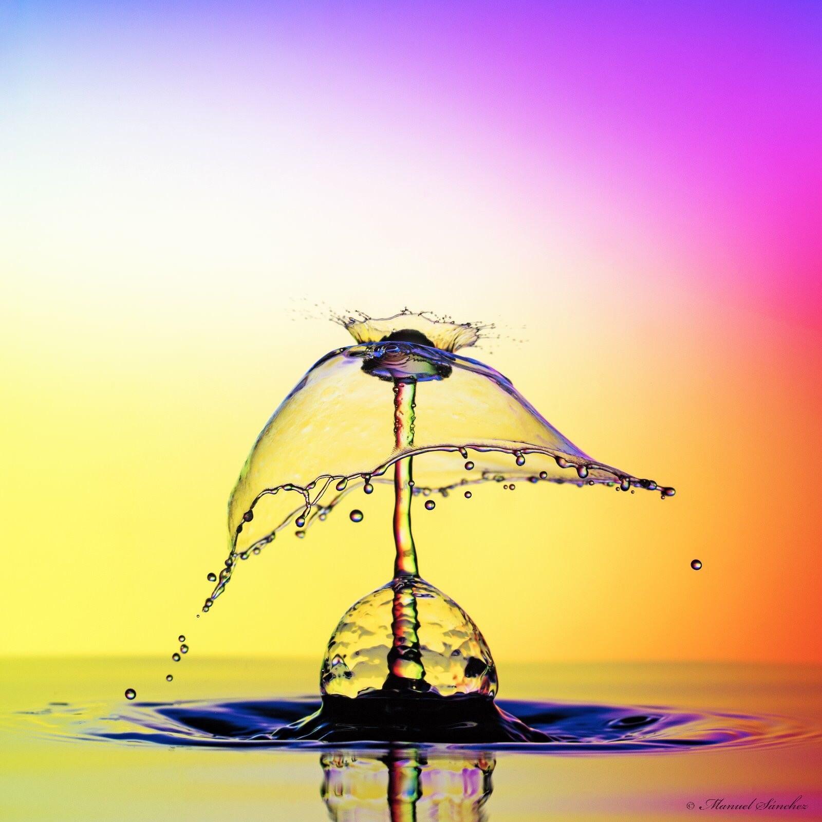 photographie haute vitesse d'une goutte d'eau réalisée par Manuel Sanchez